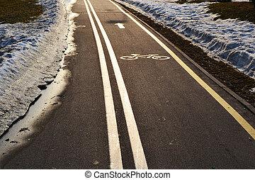 Bicycle lane in the city park, Minsk, Belarus