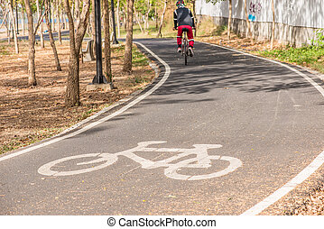 Bicycle lane in the park, cycling