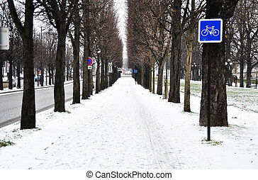 Bicycle lane in winter
