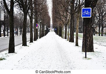 Bicycle lane in winter, Paris, France