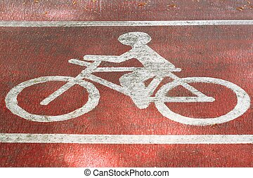 Bicycle lane on road in the park