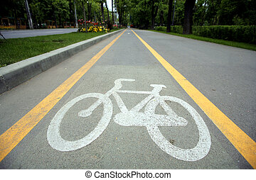 Picture of a bicycle lane in a park