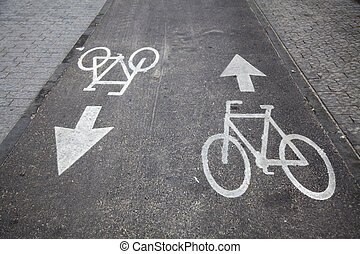Bicycle Lane - Road marking indicating a bicyle lane. Shot ...