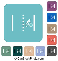Bicycle lane white flat icons on color rounded square backgrounds