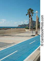 Scenic bicycle lane at a Mediterranean beach resort