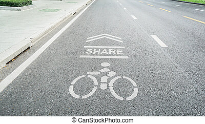 bicycle lane shared on the concrete road for people exercise