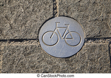 Bicycle Lane Sign, Bilbao, Basque Country, Spain