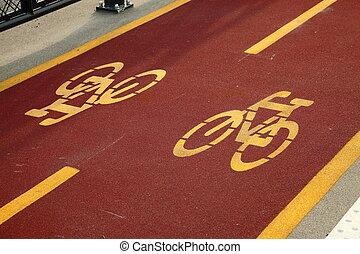Bicycle lane sign closeup