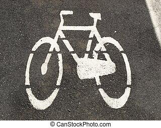 Bicycle lane sign for bike