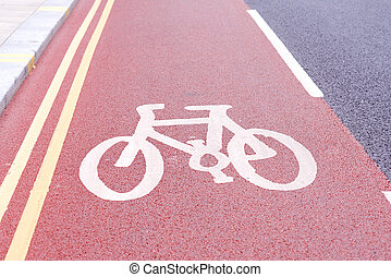 bicycle lane sign in a city