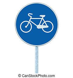 Bicycle lane sign indicating bike route, large blue round isolated roadside traffic signage