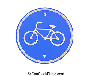 Bicycle lane sign isolated on white background.