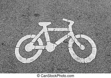 Bicycle lane sign on public road