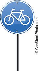 Bicycle lane sign on white