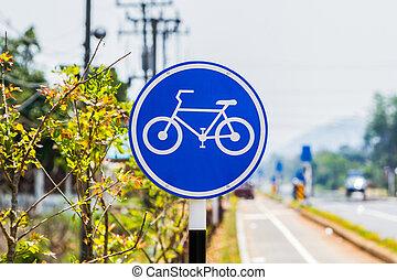 Bicycle lane sign.