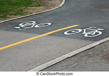 Bicycle lane signs