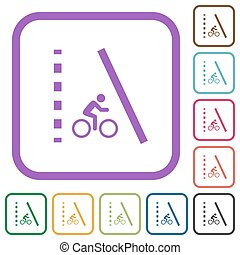 Bicycle lane simple icons in color rounded square frames on white background