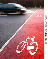 Van crossing a bicycle lane