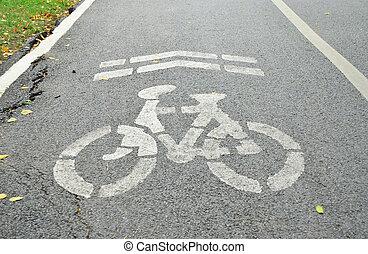 Bicycle lane with crack asphalt