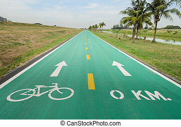 Bicycle lane with sign