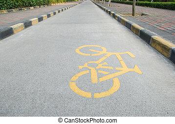 bicycle lane with symbol