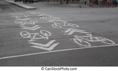 Bicycle lanes and cyclists. Montreal, Quebec.