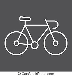 Bicycle line icon, transport and vehicle, bike sign vector graphics, a linear pattern on a black background, eps 10.