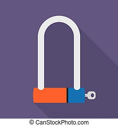 bicycle lock icon - Bicycle Lock U shaped industrial. Vector...