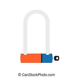 bicycle lock icon - Bicycle Lock U shaped industrial. Vector...