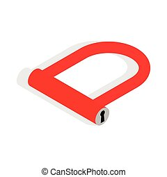 Bicycle Lock U shaped icon, isometric 3d style - Bicycle...