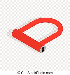 Bicycle Lock U shaped isometric icon 3d on a transparent...