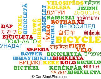 Bicycle multilanguage wordcloud background concept