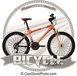 Bicycle of a certain type, on symbolic background.