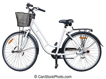 Bicycle - Old retro style bicycle isolated on white...