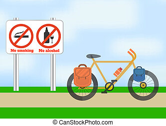 Bicycle on road. Bicycle tourism sport. Icons of traveling, planning a summer vacation, tourism and journey objects