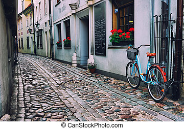 Bicycle on the old street in Riga