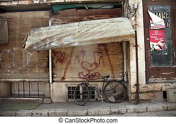 Bicycle on the street, Skopje, Republic of Macedonia