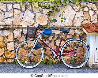 bicycle on the street wall