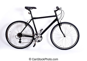 Bicycle on White - a black men's bicycle on a white ...