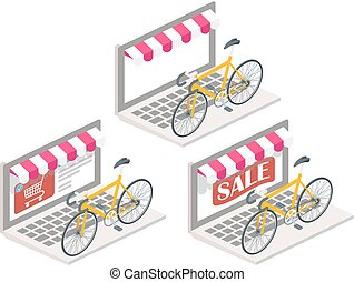 Bicycle online 3d isometric vector illustration