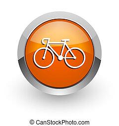 bicycle orange glossy web icon