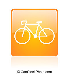 bicycle orange square glossy web icon