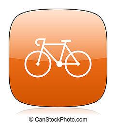 bicycle orange square web design glossy icon