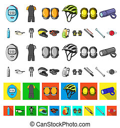 Bicycle outfit cartoon icons in set collection for design. Bicycle and tool bitmap symbol stock web illustration.