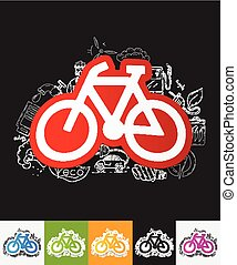 bicycle paper sticker with hand drawn elements