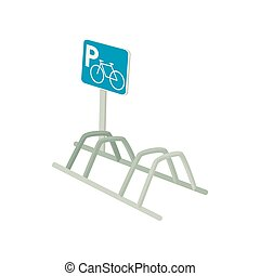 Bicycle parking icon, cartoon style