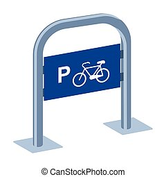 Bicycle parking icon in cartoon style isolated on white background. Parking zone symbol stock vector illustration.