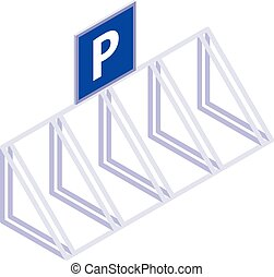 Bicycle parking icon, isometric style