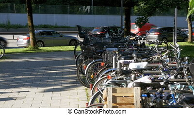 Bicycle Parking in the Street of Munich - Bicycle parking in...