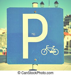 Bicycle parking lot sign